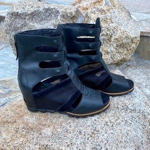 Sorel Joanie Gladiator Wedge Sandals Black